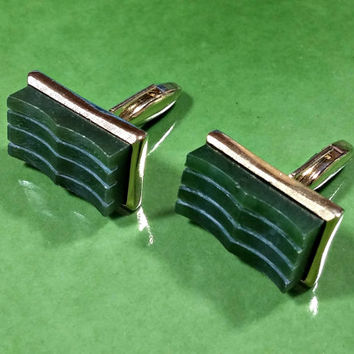 Vintage Cufflinks Jade Green Stone Gold Metal Rectangular Striped Wavy Swank Cufflinks Classic Classy Casual Dress Great Looking Pair