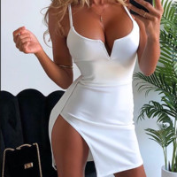 Hot style women's halter strap deep V neck intimate sexy wrap hip dress