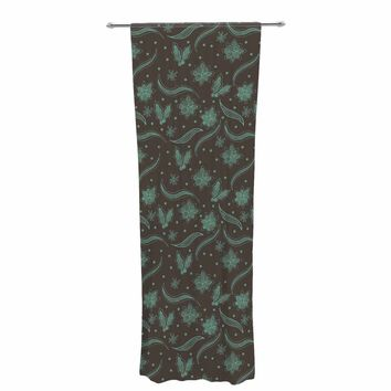 """Stephanie Vaeth """"Winter Lace"""" Teal Brown Illustration Decorative Sheer Curtain"""