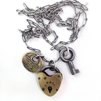 Antique Mallory Wheeler M. W. & Co. Heart Padlock Atlas Key Sterling Charm Necklace Long Cable Chain Mixed Metal