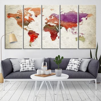 96397 - Large Wall Art World Map Canvas Print- Custom World Map Push Pin Wall Art- Custom World Map Canvas Poster Print- Personalized Wall Art
