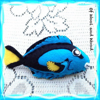 Surgeon fish plush, sea ocean animal, blue tang tropical marine, Dory Nemo, Waldorf, storytelling prop,soft sculpture, salt water aquarium