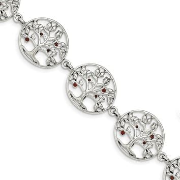 Sterling Silver Polished Red CZ Tree Circle Link Bracelet