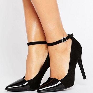 New Look Wide Fit Suedette Point Court Heel at asos.com