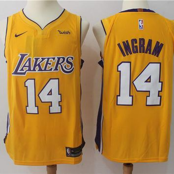 NBA Authentic Basketball Player Jerseys Los Angeles Lakers # 14 Brandon Ingram Gold