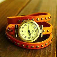 Fashion Retro Roman Numerals Watch JQ First Layer Of Leather Rivets Watch