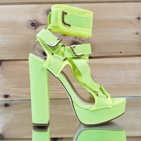 "Bella Luna Neon Yellow 5.5"" Chunky High Heel Harness Strap Shoe 6-10"