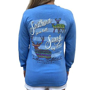 Southern Attitude Preppy Sassy Aztec Deer Long Sleeve T-Shirt