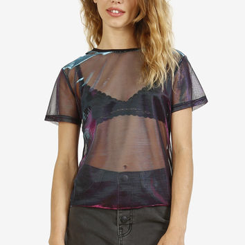 Metallic Sheer Box Top - Blue/Purple