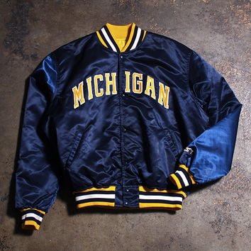 University of Michigan Starter Satin Jacket Navy (XL)