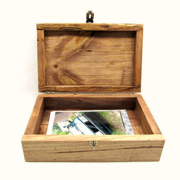 Reclaimed Wood Keepsake Box with Antiqued Hardware - Handmade Wooden Photo Box, Memory Box with Latch, Small Storage Box, Memento Box