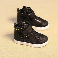Baby Kids Girls Boys Casual Flats Lace Up High Tops Shoes Rivet Sneaker Boots = 1705165060