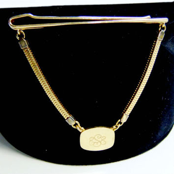 Hanging Tie Chain with Monogrammed Pendant Marked Forstar Gold Tone Mesh Link Vintage Mens Circa 1960s