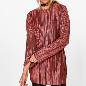 Lily-Rose Pleated Long Sleeve Oversized T-Shirt
