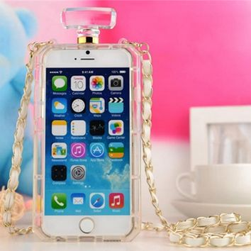 iPhone 6, 6 Plus, 5/5S, 5C, 4/4S - Perfume Bottle Case With Strap in Clear or Black