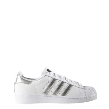 Adidas White Round Toe Leather Sneakers