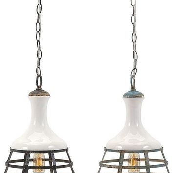 Sandra Ceramic and Metal Pendant Lights - Ast 2