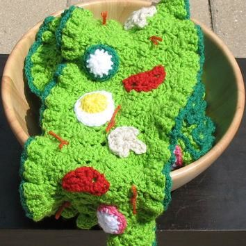 Crocheted Salad Scarf, Perfect for Foodies, Vegans, Conversation Starter, Unique, Made