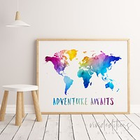 Adventure Awaits, Travel Quote World Map Watercolor Art Print
