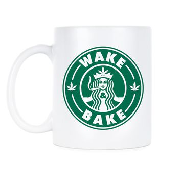 Wake and Bake Coffee Mug Starbuds Wake Bake Mugs Funny Stoner Cup Stoners Cups