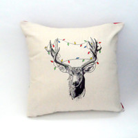 Deer in Christmas Lights Pillow Case, 14X14 Cream, Shabby Chic with Envelope Back, Home Decor, Vintage Look