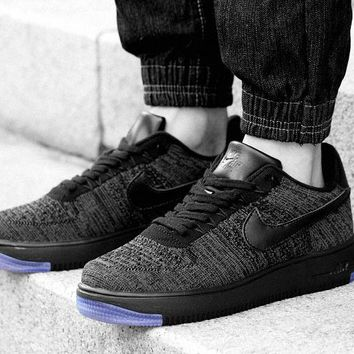 Nike Air Force 1 Flyknit Af1 817419-010 Grey For Women Men Running Sport Casual Shoes Sneakers