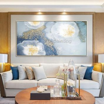 Abstract blue painting Gold art acrylic paintings on canvas original art extra Large painting Wall Pictures caudros abstractos hand painted