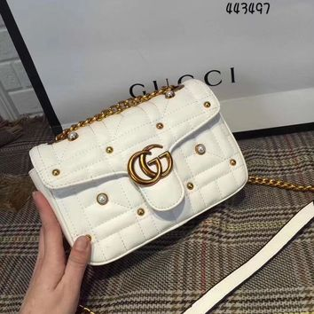 Gucci Women Shopping Bag Leather Chain Crossbody Shoulder Bag Satchel-25