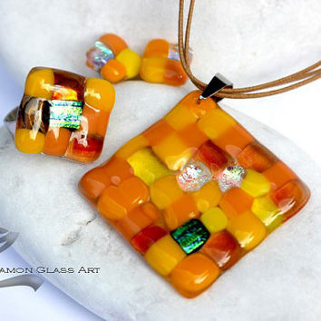 Yello mosaic glass jewelry set
