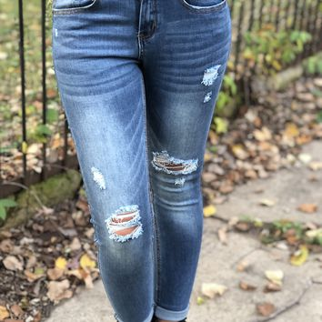 Amazing L&B Skinny Jeans-Medium Wash-Distressed