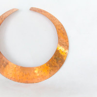 Hammered Copper collar cuff necklace chunky choker shiny dinged look