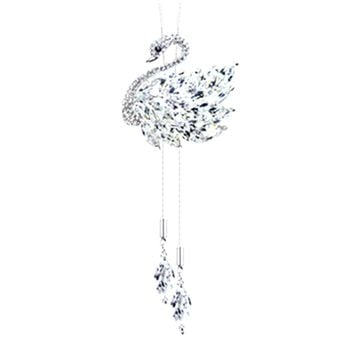 swan Snowflake Long Necklaces Sweater Chain Fashion Fine Metal Chain Crystal Rhinestone Flower Pendant Necklace