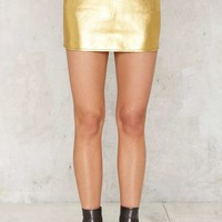 After Party Vintage Gold Moves Leather Skirt
