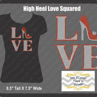 Rhinestone Love Squared High Heel Women's T-Shirt
