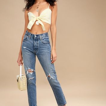 501 Skinny Light Blue Distressed Jeans