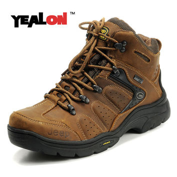 YEALON Genuine Leather Hiking Boots Outdoor Sports Hiking Shoes Men Mountain Sneakers Men Trekking Shoes Men Buty Sportowe Khaki