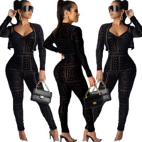 Versace Fashion Women Strap Jumpsuit Coat Two-Piece