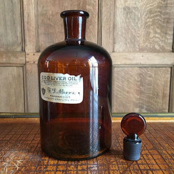 Large Antique Apothecary Bottle, 1800s Dark Amber Pharmacy Bottle With Glass Stopper And Paper Label, Vintage Home Decor