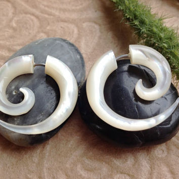 Fake Gauge Earrings Small Spirals Mother of by DewiDesign on Etsy