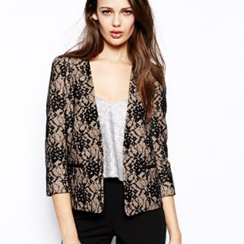 French Connection Luxury Lace Fitted Jacket - Nude/ black