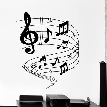 Wall Vinyl Decal Music Notes Rock Pop Blues Home Interior Decor Unique Gift z4189