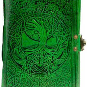 Green Tree of Life and River of Knowledge Leather Covered Journal with Latch