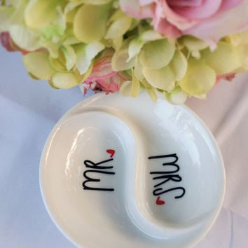 Mr. and Mrs., Mrs. & Mrs., Mr. and Mr. Newly Wed Ring Dishes. Bridal Shower Gift, Jewelry Dishes for Newlyweds, Wedding Shower Gift