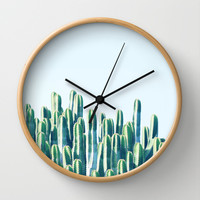 Cactus V2 #society6 #decor #fashion #tech #designerwear Wall Clock by 83oranges.com | Society6