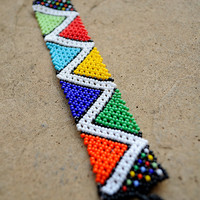 African Zigzag bracelet,beaded bracelet,Ethnic jewellery,Traditional African beadwork,African seed beads,Tribal jewellery