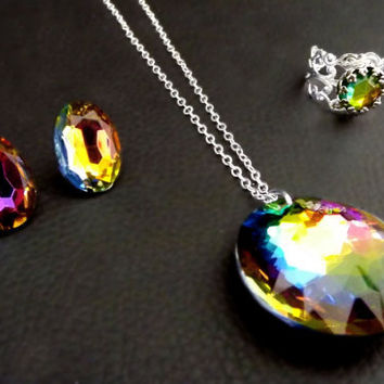 Rainbow crystal chakra jewelry, necklace earring and ring set. Energy, spiritual healing, magic.