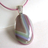 Layered Fused Glass Pendant in Green, Pink and Mocha