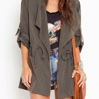 Gray Hooded Drawstring Roll Up Sleeve Trench Coat