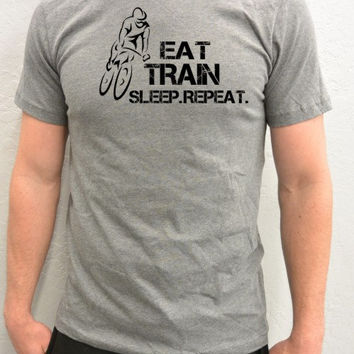 Bicycle T-Shirt -Eat, Train, Sleep, Repeat- Cycling T-Shirt in Grey-Father's Day Gift