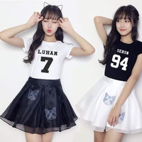 kpop EXO summer clothes female deer Han Wu Yifan with all two pieces of clothing T-shirt Short Sleeve Dress Costume k-pop k pop